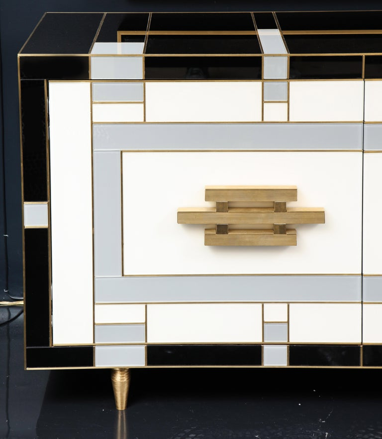 Spanish Custom Handcrafted Black, Ivory and Grey Glass with Brass Inlay Sideboard, Spain For Sale