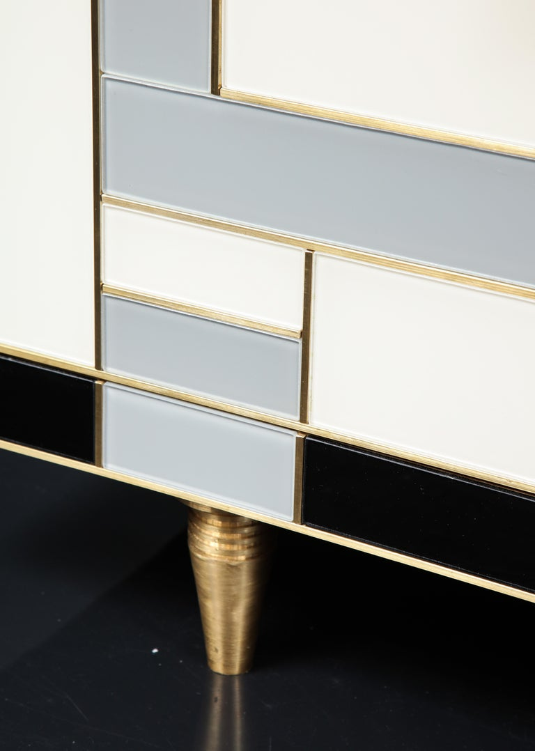 Hand-Crafted Custom Handcrafted Black, Ivory and Grey Glass with Brass Inlay Sideboard, Spain For Sale