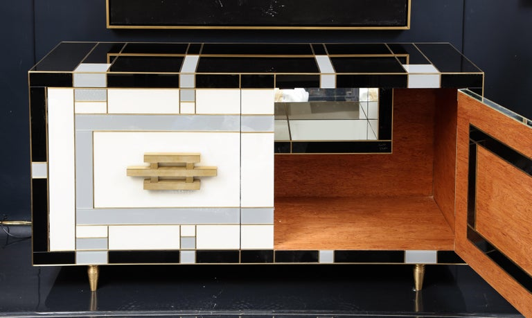 Custom Handcrafted Black, Ivory and Grey Glass with Brass Inlay Sideboard, Spain For Sale 2
