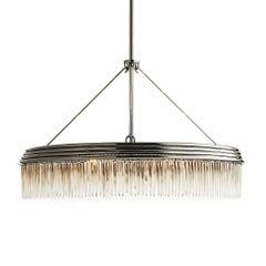 Round Industrial Chandelier in Black Nickel with Contemporary Glass Fringe Trim
