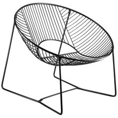 Handcrafted Black Outdoor Cali Wire Lounge Chair, Powder-Coated Steel