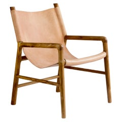 Handcrafted BN01 Side Chair, Tropical Parota Wood & Natural Leather