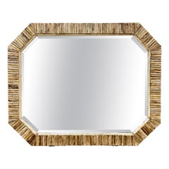 Handcrafted Bone and Horn Mirror with Beveled Glass