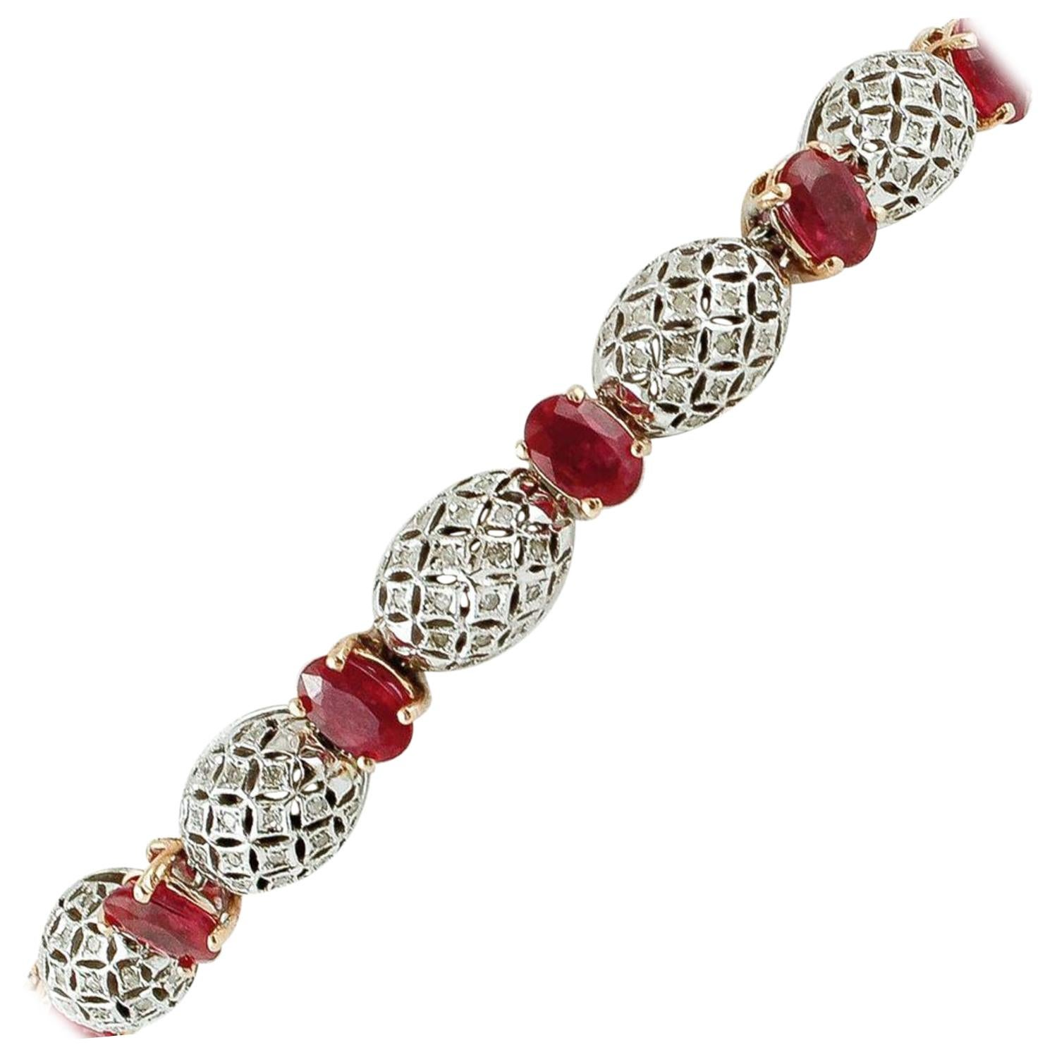 Handcrafted Bracelet, Rubies, Diamonds, 14 Karat White and Yellow Gold Bracelet