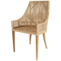 Handcrafted Braided Rattan and Teak Wooden Base French Design Armchair