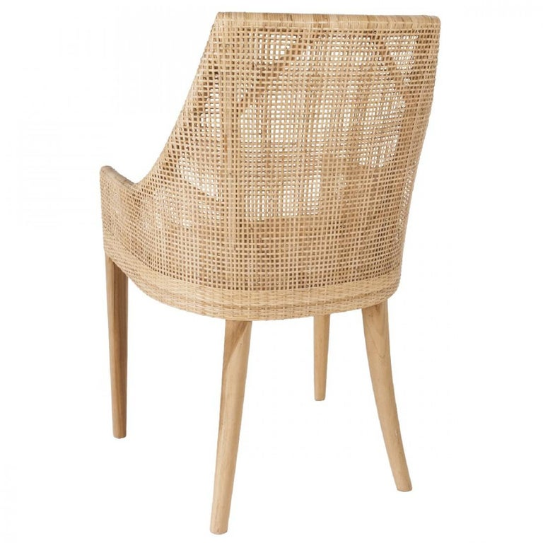 Mid-Century Modern Handcrafted Braided Rattan and Wooden Base French Design Armchair
