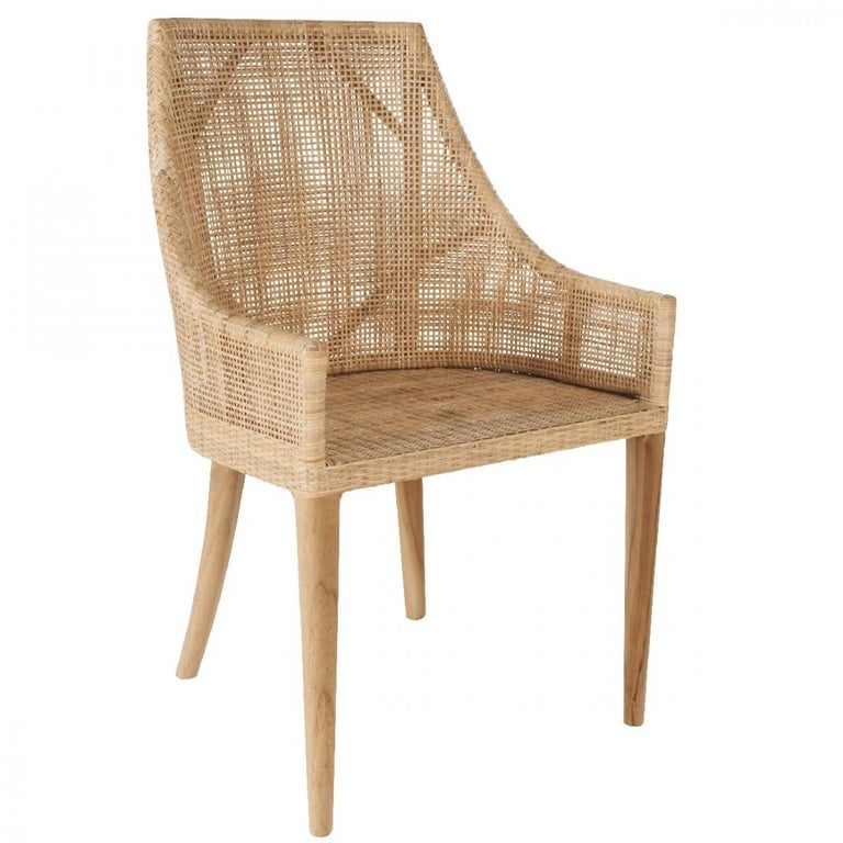Handcrafted Braided Rattan and Wooden Base French Design Armchair In New Condition In Halluin, FR