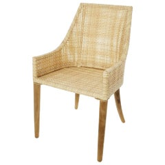 Handcrafted Braided Rattan Resin and Teak Wooden French Design Outdoor Armchair