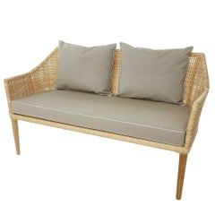 Handcrafted Braided Rattan Resin and Teak Wooden French Design Outdoor Sofa