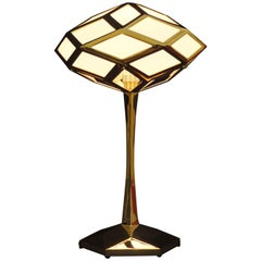 "Handcrafted Brass 21st Century European Jugenstil Table Lamp, ""The Sun"""