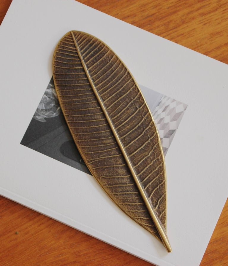 Organic Modern Handcrafted Brass Leaf Paperweight with Bronze Patina For Sale