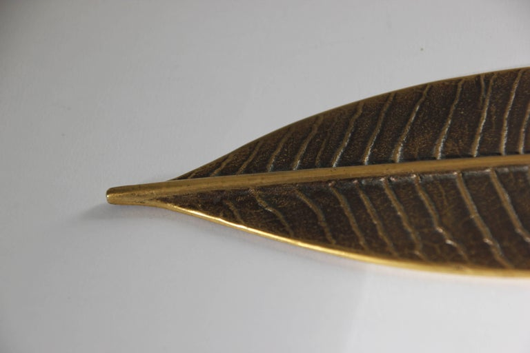 Patinated Handcrafted Brass Leaf Paperweight with Bronze Patina For Sale