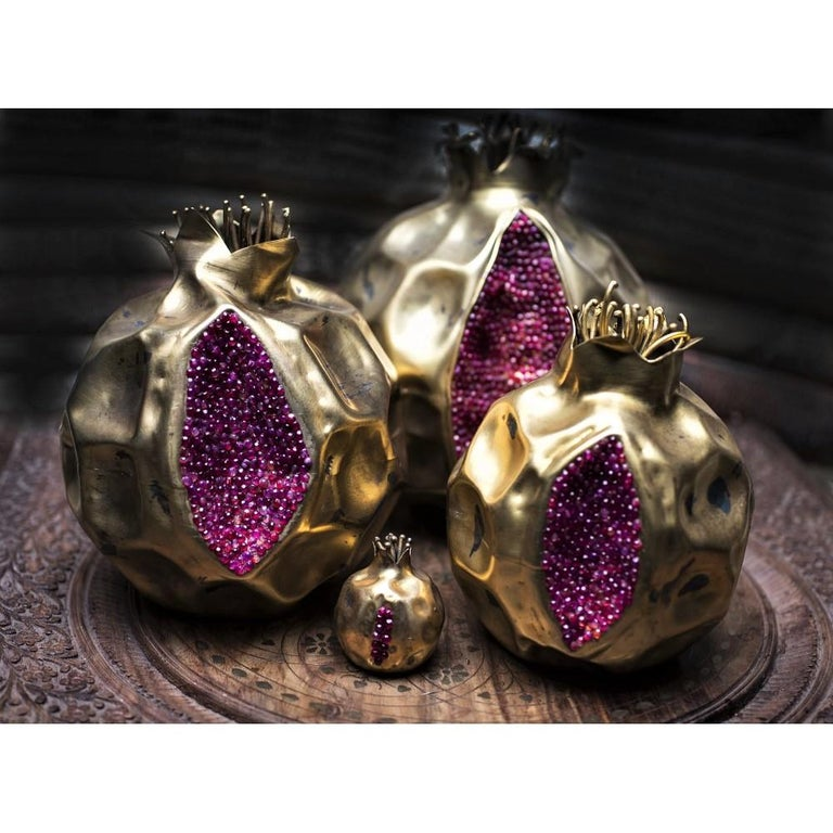 Organic Modern Handcrafted Bronze Pomegranate with Semi Precious Stones For Sale