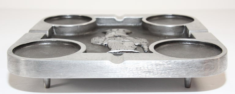 American Handcrafted Bruce Fox Large Collectible Cast Aluminum Square Cigar Ashtray For Sale