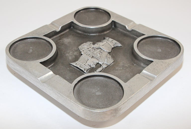 Handcrafted Bruce Fox Large Collectible Cast Aluminum Square Cigar Ashtray In Good Condition For Sale In North Hollywood, CA