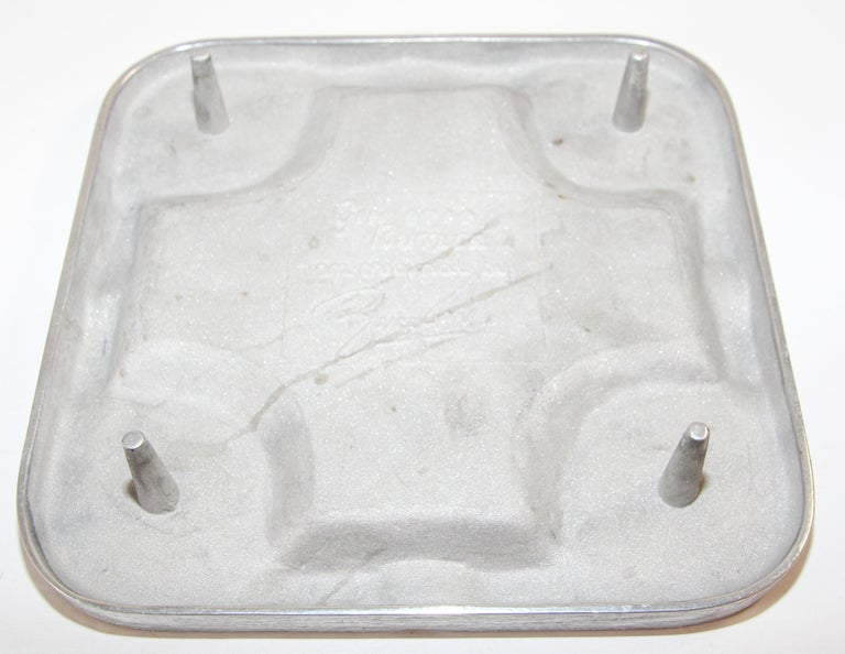20th Century Handcrafted Bruce Fox Large Collectible Cast Aluminum Square Cigar Ashtray For Sale