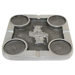 Handcrafted Bruce Fox Large Collectible Cast Aluminum Square Cigar Ashtray