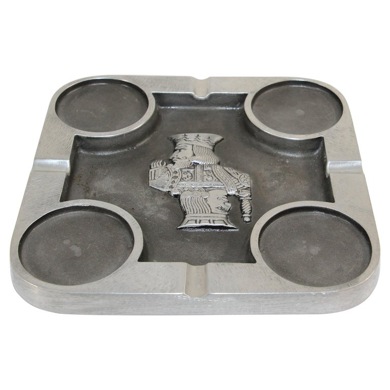 Handcrafted Bruce Fox Large Collectible Cast Aluminum Square Cigar Ashtray For Sale