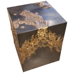 Handcrafted Brutalist Cube Table in Bronze and Brass, Style of Paul Evans, 2016