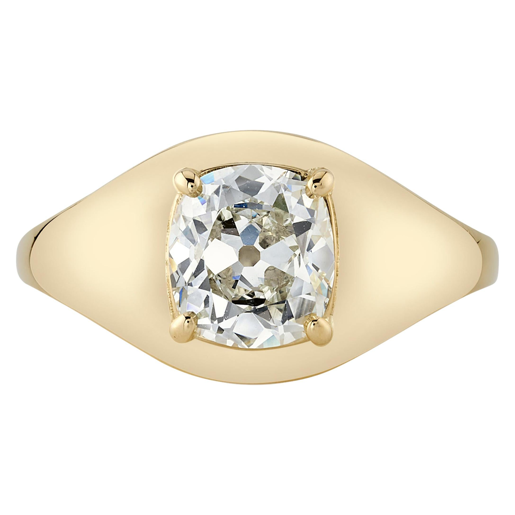 Handcrafted Bryn Antique Cushion Cut Diamond Ring by Single Stone