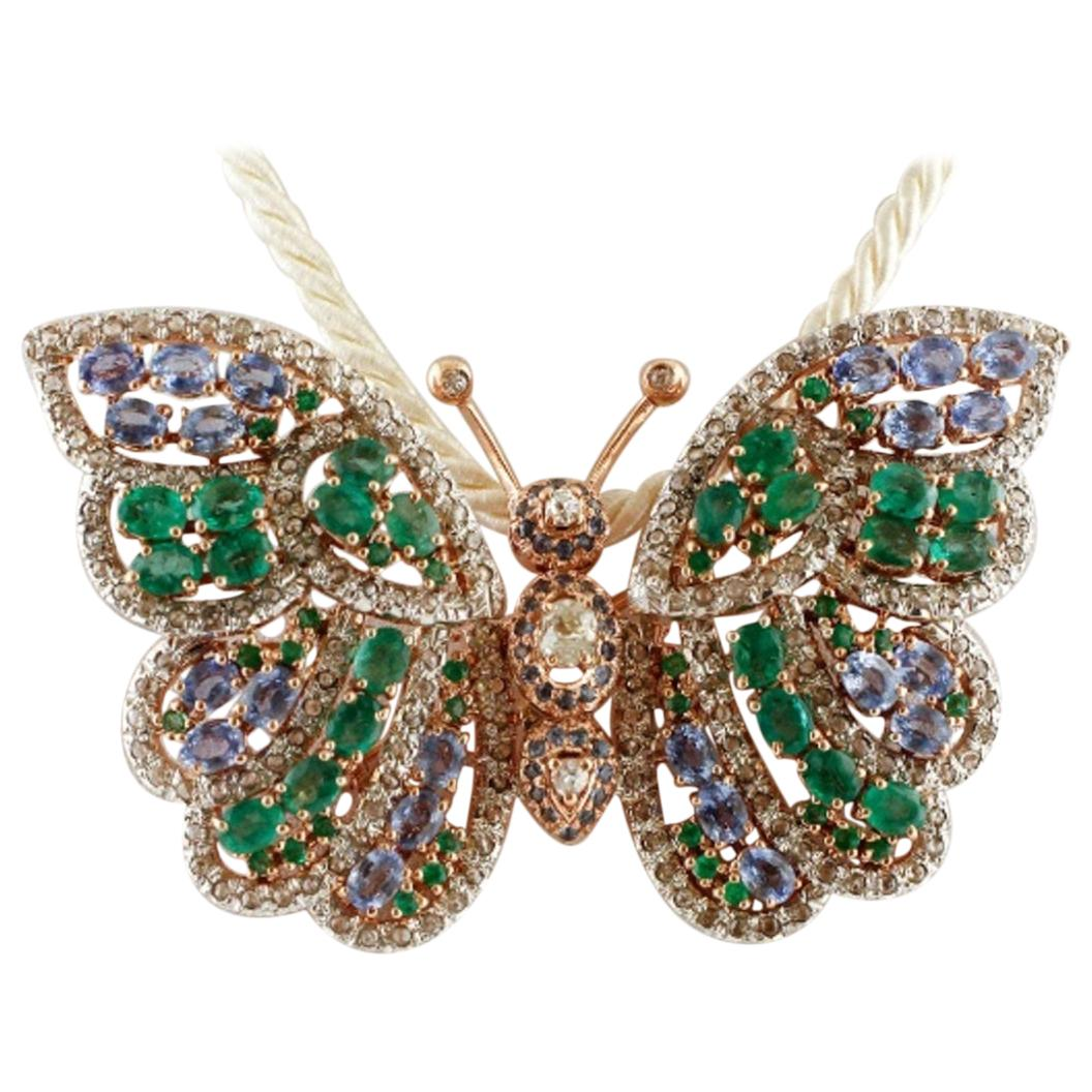 Handcrafted Butterfly Brooch Diamonds, Emeralds, Sapphires, Rose Gold and Silver