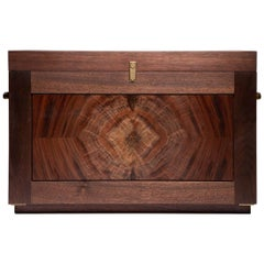 Handcrafted Campaign Chest Field Bar in Walnut and Brass by Alabama Sawyer