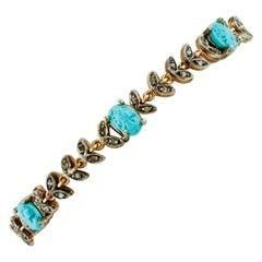 Handcrafted Carved Turquoise, Diamonds, Rose Gold and Silver Retro Bracelet