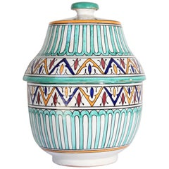 Handcrafted Ceramic Glazed Covered Jar in Fez Morocco