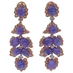 Handcrafted Chandelier Earrings Diamonds, Tanzanite, 14 Karat Rose Gold