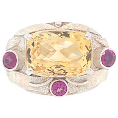 Handcrafted Citrine Rhodolite Sterling Silver One of a Kind Cocktail Ring