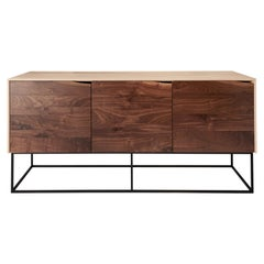 Handcrafted Classic Modern Credenza of Natural Ash and Walnut