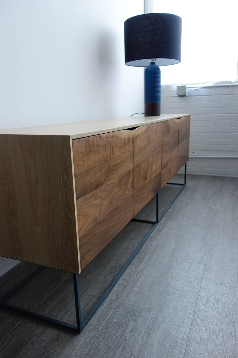 American Handcrafted Classic Modern Credenza of Natural White Oak, Walnut, and Steel Base For Sale
