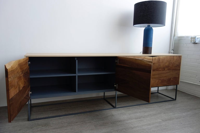 Woodwork Handcrafted Classic Modern Credenza of Natural White Oak, Walnut, and Steel Base For Sale