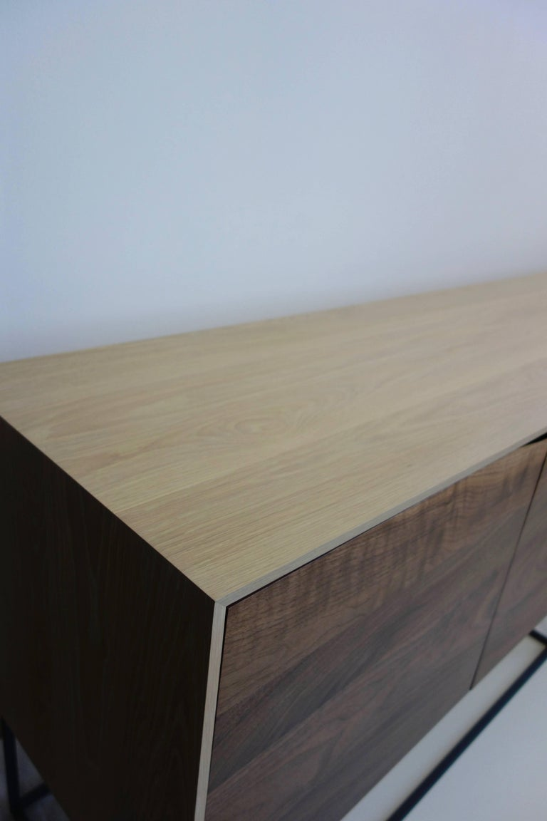 Handcrafted Classic Modern Credenza of Natural White Oak, Walnut, and Steel Base In New Condition For Sale In St. Paul, MN