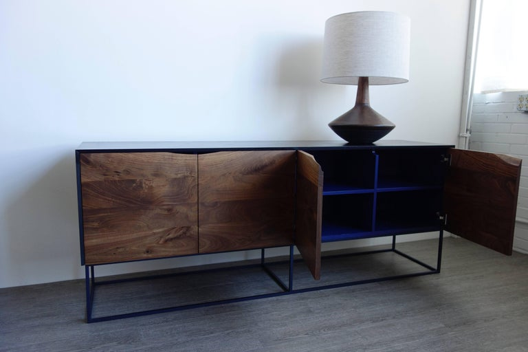 American Handcrafted Classic Modern Credenza of Select Ash and Walnut with Steel Base For Sale