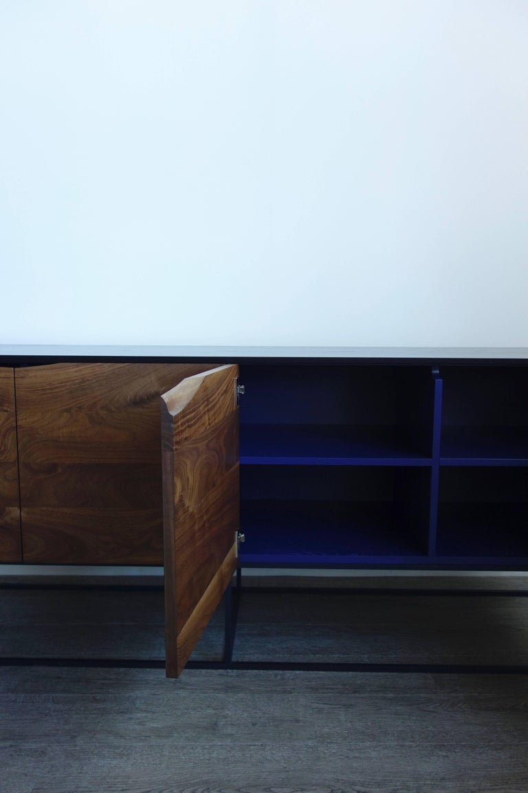 Joinery Handcrafted Classic Modern Credenza of Select Ash and Walnut with Steel Base For Sale
