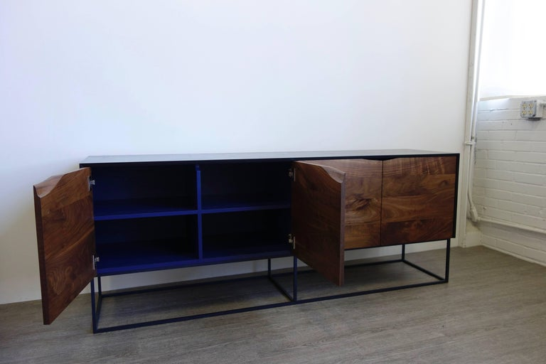 Handcrafted Classic Modern Credenza of Select Ash and Walnut with Steel Base In New Condition For Sale In St. Paul, MN