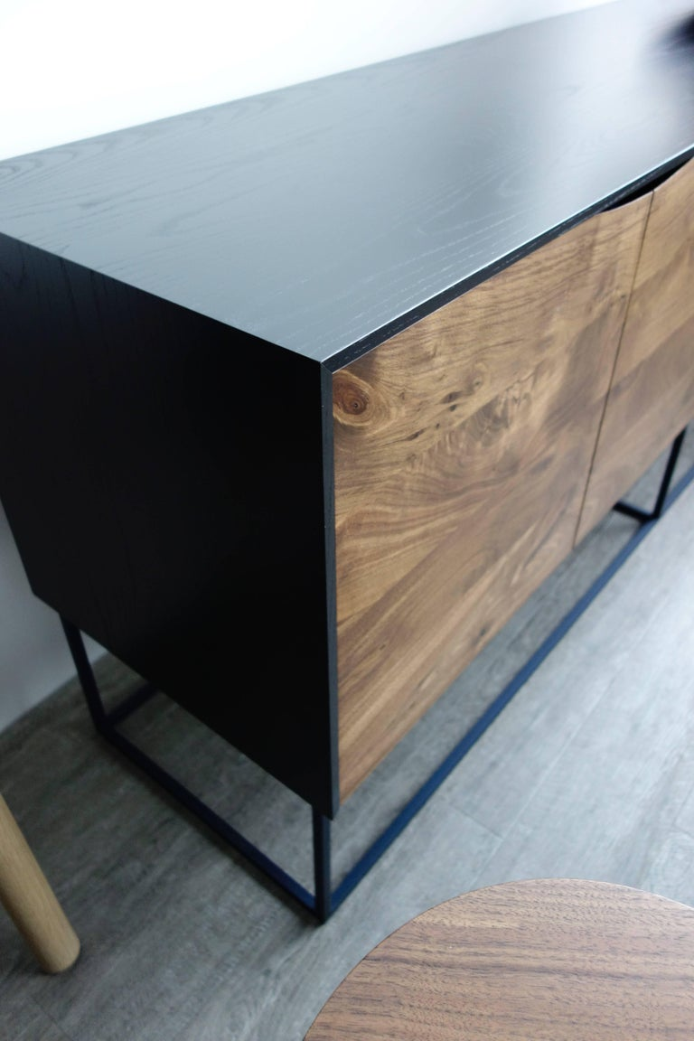 Contemporary Handcrafted Classic Modern Credenza of Select Ash and Walnut with Steel Base For Sale