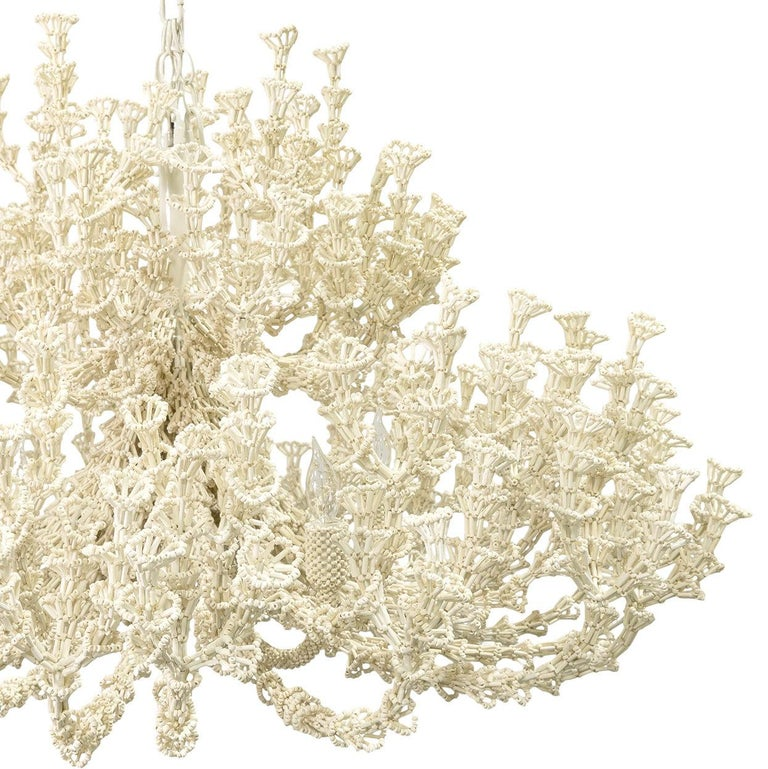 Organic Modern Handcrafted Coastal Chandelier, Cream Coco Shells.  For Sale