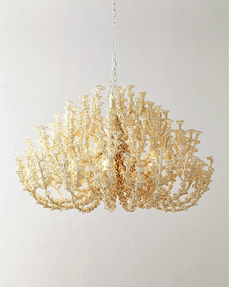 Handcrafted Coastal Chandelier, Cream Coco Shells.  In New Condition For Sale In New York, NY