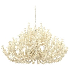 Handcrafted Coastal Chandelier, Cream Coco Shells.