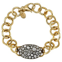 Handcrafted Cobblestone Diamond Club Bracelet in 18 Karat Gold