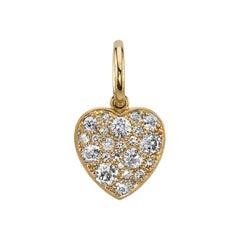 Handcrafted Cobblestone Diamond Heart Pendant Set in 18 Karat Yellow Gold