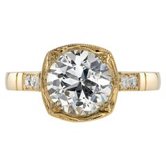 Handcrafted Colette Old European Cut Diamond Ring by Single Stone