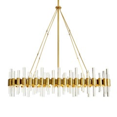 Oval Shaped Contemporary Chandelier Handcrafted in Vintage Brass