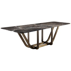Handcrafted Curved Edge Marble Dining Table