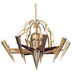 Handcrafted Dagobert Peche & Wiener Werkstätte Art Deco Chandelier, Re Edition