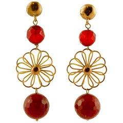 Handcrafted Dangle Earrings Carnelian Beads, 9 Karat Yellow Gold Vintage