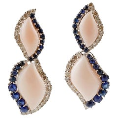 Handcrafted Dangle Earrings Coral, Blue Sapphires, Diamonds, 14 Karat White Gold