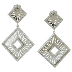 Handcrafted Dangle Earrings Diamonds, 18 Karat White Gold